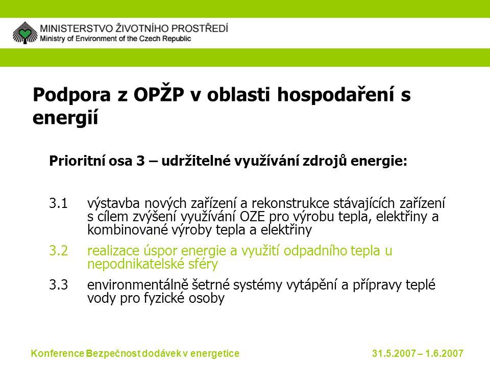 Konference Bezpečnost dodávek v energetice 31.5.2007 – 1.6.2007 Podpora z OPŽP v oblasti hospodaření s energií Prioritní osa 3 – udržitelné využívání zdrojů energie: 3.1výstavba nových zařízení a rekonstrukce stávajících zařízení s cílem zvýšení využívání OZE pro výrobu tepla, elektřiny a kombinované výroby tepla a elektřiny 3.2realizace úspor energie a využití odpadního tepla u nepodnikatelské sféry 3.3environmentálně šetrné systémy vytápění a přípravy teplé vody pro fyzické osoby