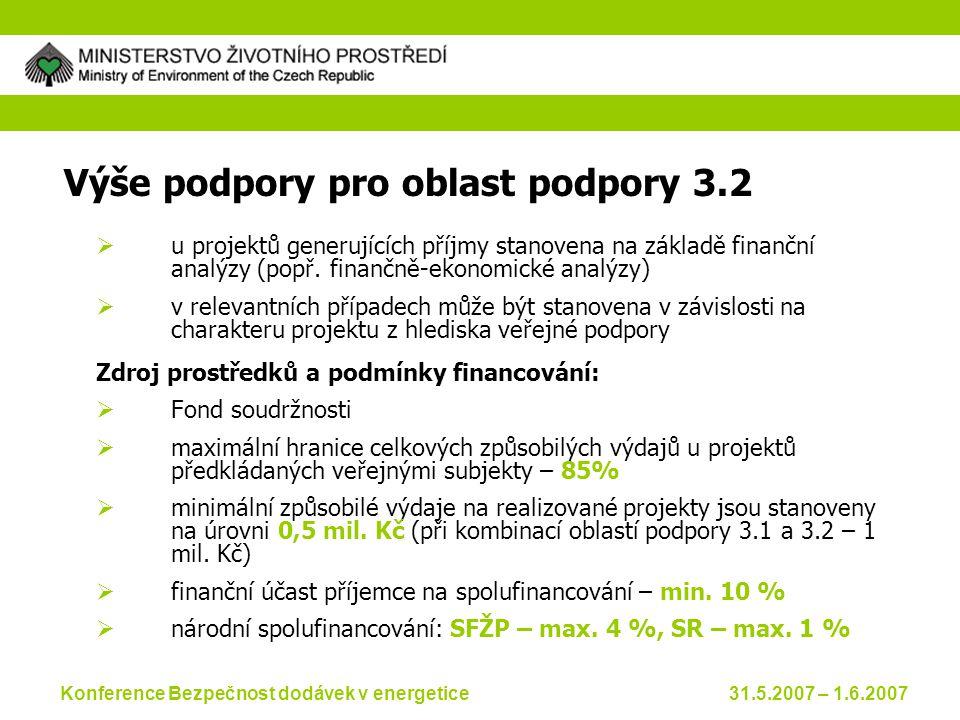 Konference Bezpečnost dodávek v energetice 31.5.2007 – 1.6.2007 Výše podpory pro oblast podpory 3.2  u projektů generujících příjmy stanovena na základě finanční analýzy (popř.