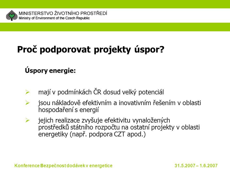 Konference Bezpečnost dodávek v energetice 31.5.2007 – 1.6.2007 Proč podporovat projekty úspor.