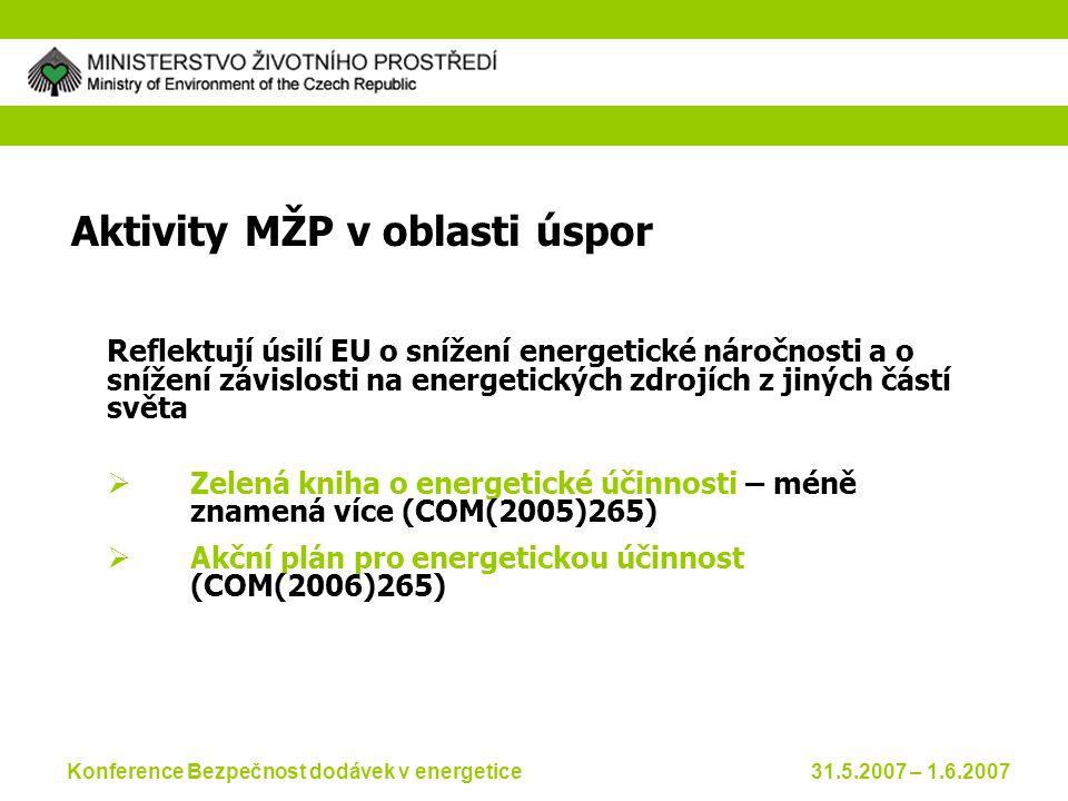 Konference Bezpečnost dodávek v energetice 31.5.2007 – 1.6.2007 Aktivity MŽP v oblasti úspor Reflektují úsilí EU o snížení energetické náročnosti a o snížení závislosti na energetických zdrojích z jiných částí světa  Zelená kniha o energetické účinnosti – méně znamená více (COM(2005)265)  Akční plán pro energetickou účinnost (COM(2006)265)