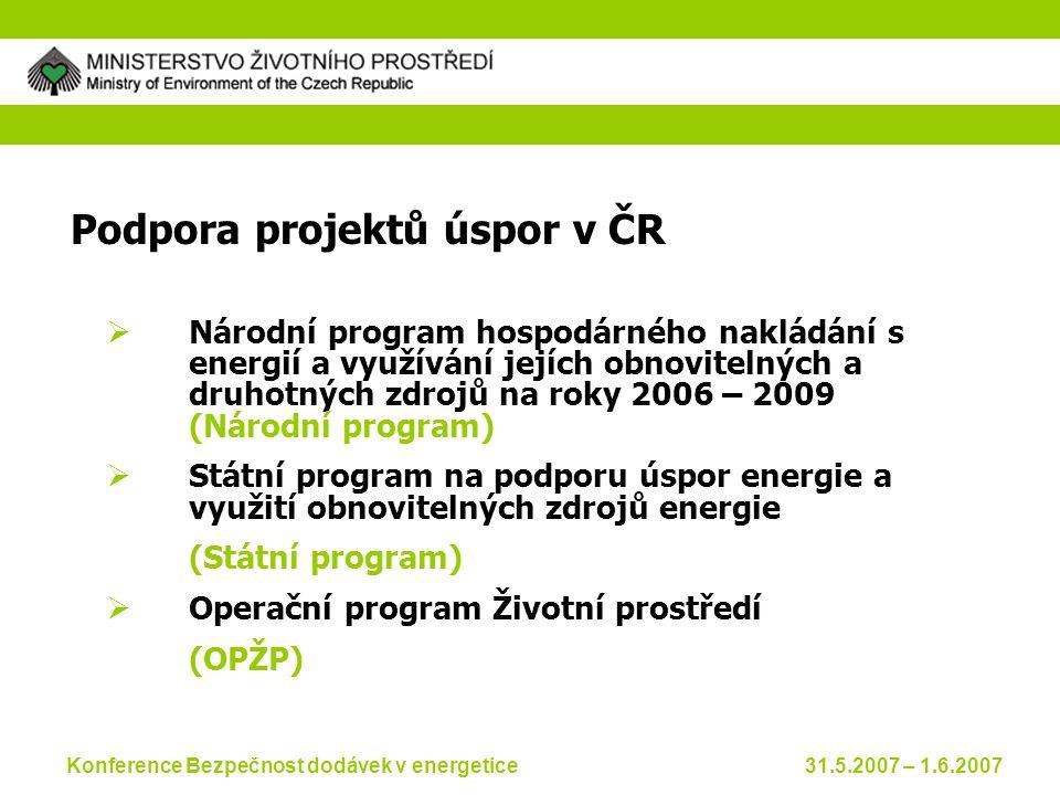Konference Bezpečnost dodávek v energetice 31.5.2007 – 1.6.2007 Podpora projektů úspor v ČR  Národní program hospodárného nakládání s energií a využívání jejích obnovitelných a druhotných zdrojů na roky 2006 – 2009 (Národní program)  Státní program na podporu úspor energie a využití obnovitelných zdrojů energie (Státní program)  Operační program Životní prostředí (OPŽP)