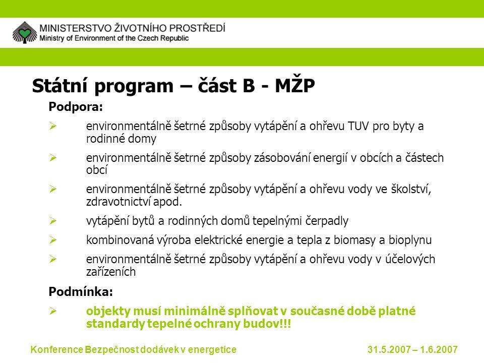 Konference Bezpečnost dodávek v energetice 31.5.2007 – 1.6.2007 Operační program životní prostředí  prováděcí dokument schvalovaný na úrovni ČR  Obsahuje podrobné informace o implementaci (realizaci) programu  Rozpracovává prioritní osy do oblastí podpory Odpovědnost za přípravu:  SFŽP ve spolupráci s MŽP