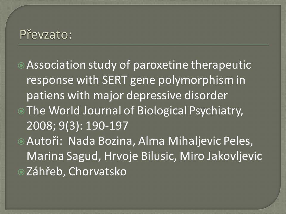  Vztah mezi gen.variantami pro SERT = 5 – HT transporter (SERTPR / SERTin2) a terap.
