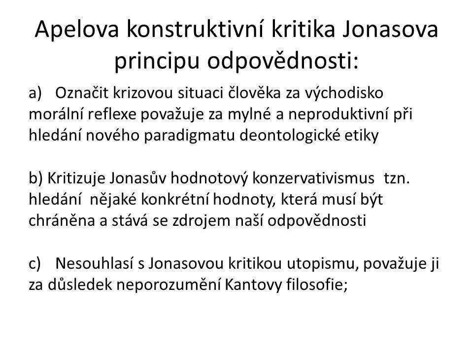 Apelova konstruktivní kritika Jonasova principu odpovědnosti: a)Označit krizovou situaci člověka za východisko morální reflexe považuje za mylné a nep