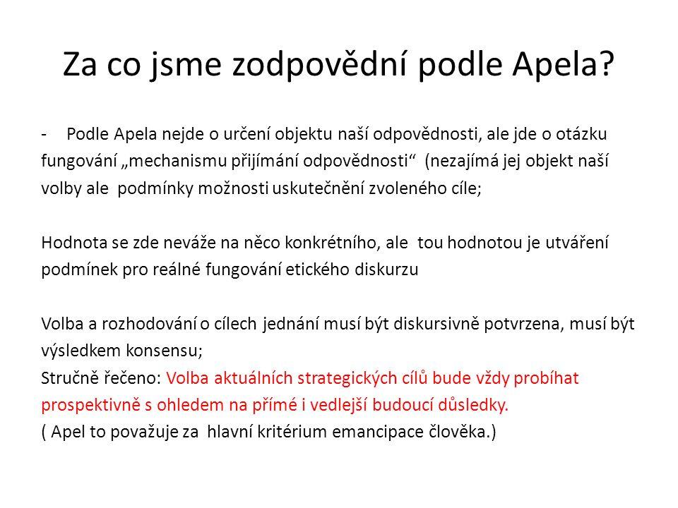 """Za co jsme zodpovědní podle Apela? -Podle Apela nejde o určení objektu naší odpovědnosti, ale jde o otázku fungování """"mechanismu přijímání odpovědnost"""