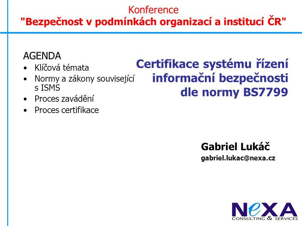 Východisko a cíl prezentace Informatizace se stává klíčovou nejen konkurenční výhodou, ale podnikatelský úspěch je u většiny subjektů nereálný Informační bezpečnost se dostává (konečně) do popředí zájmů manažérů českých podniků Existuje standardizovaný přístup k informační bezpečnosti, jehož smysluplnost lze ověřit certifikačním procesem založeným na světových standardech