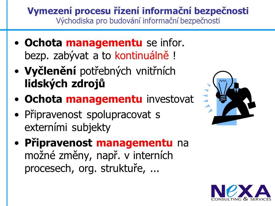Vymezení procesu řízení informační bezpečnosti Legislativní základ Zákony: –Obchodní zákoník – obchodní tajemství –Zákon o ochraně utaj.