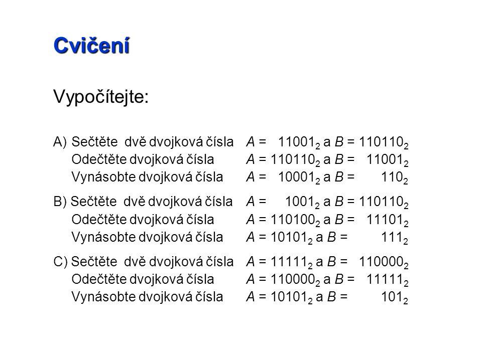 Cvičení Vypočítejte: A)Sečtěte dvě dvojková číslaA = 11001 2 a B = 110110 2 Odečtěte dvojková číslaA = 110110 2 a B = 11001 2 Vynásobte dvojková čísla