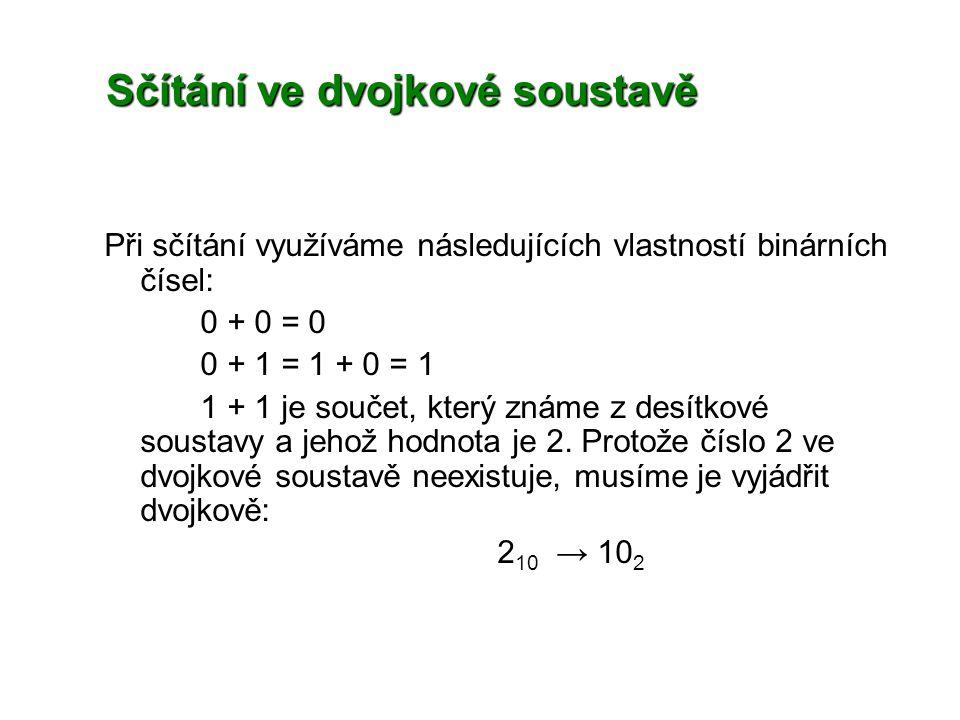 Sčítání ve dvojkové soustavě Při sčítání využíváme následujících vlastností binárních čísel: 0 + 0 = 0 0 + 1 = 1 + 0 = 1 1 + 1 je součet, který známe