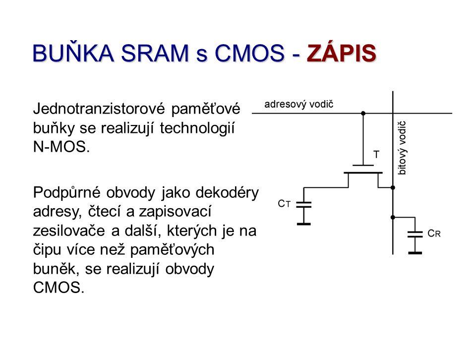 BUŇKA SRAM s CMOS - ZÁPIS Jednotranzistorové paměťové buňky se realizují technologií N-MOS. Podpůrné obvody jako dekodéry adresy, čtecí a zapisovací z
