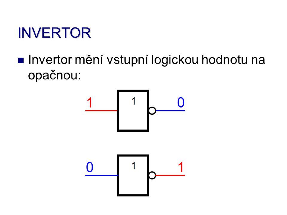 INVERTOR Invertor mění vstupní logickou hodnotu na opačnou: