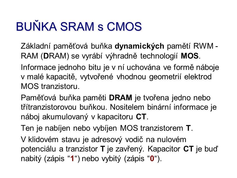 BUŇKA SRAM s CMOS Základní paměťová buňka dynamických pamětí RWM - RAM (DRAM) se vyrábí výhradně technologií MOS. Informace jednoho bitu je v ní uchov