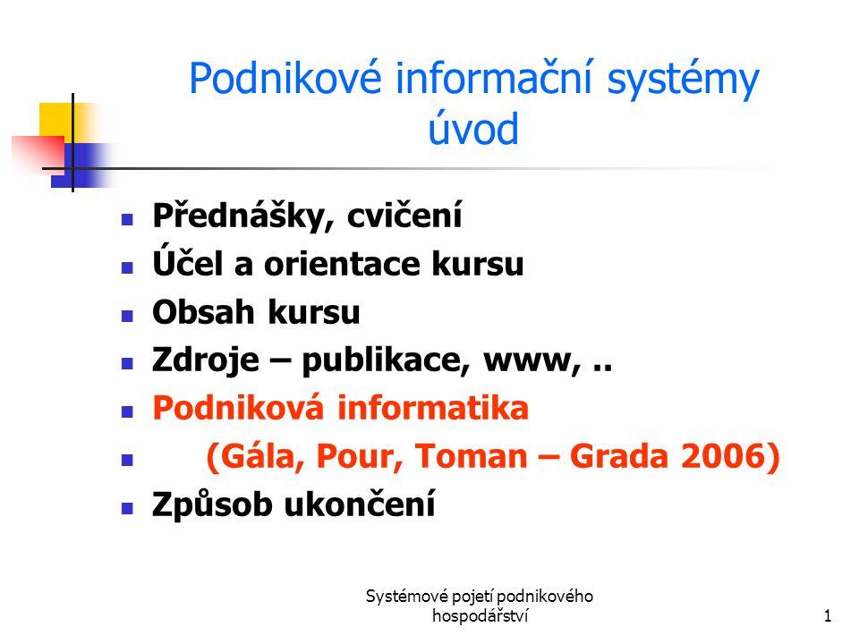 Systémové pojetí podnikového hospodářství1 Podnikové informační systémy úvod Přednášky, cvičení Účel a orientace kursu Obsah kursu Zdroje – publikace,