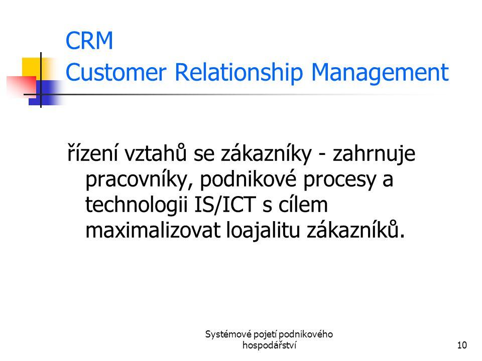 Systémové pojetí podnikového hospodářství10 CRM Customer Relationship Management řízení vztahů se zákazníky - zahrnuje pracovníky, podnikové procesy a