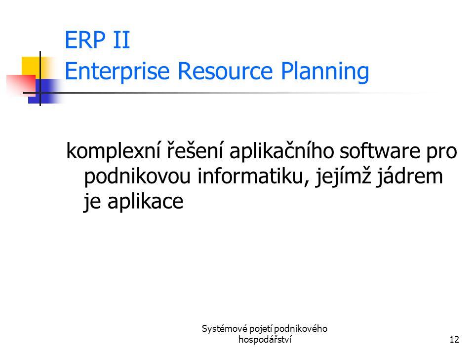 Systémové pojetí podnikového hospodářství12 ERP II Enterprise Resource Planning komplexní řešení aplikačního software pro podnikovou informatiku, její