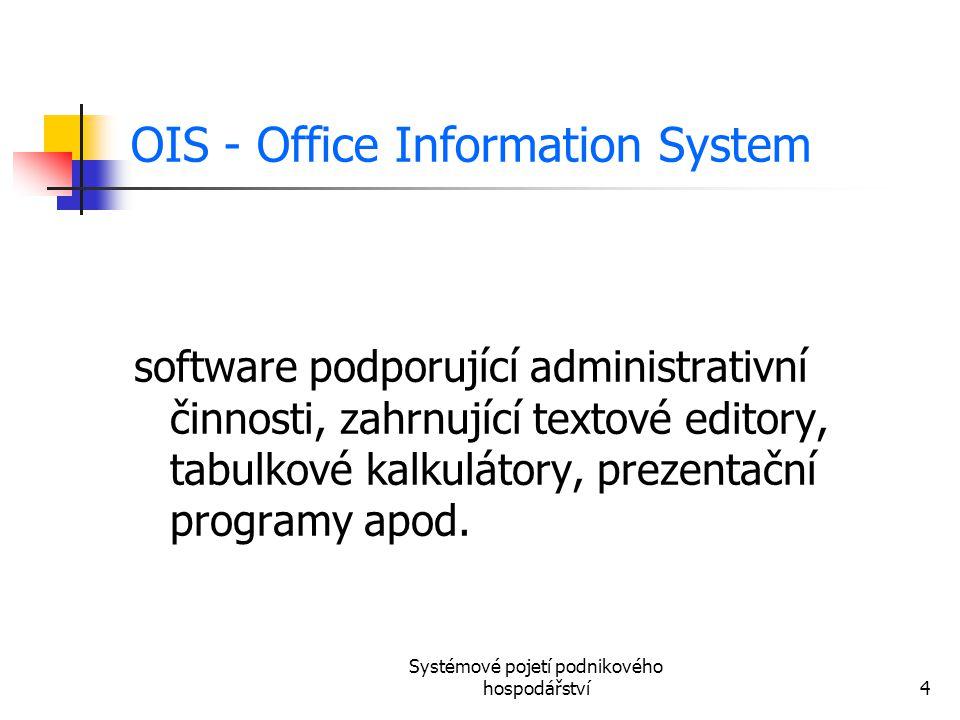 Systémové pojetí podnikového hospodářství4 OIS - Office Information System software podporující administrativní činnosti, zahrnující textové editory,