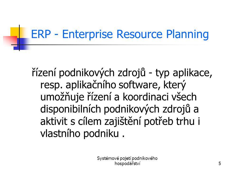 Systémové pojetí podnikového hospodářství5 ERP - Enterprise Resource Planning řízení podnikových zdrojů - typ aplikace, resp. aplikačního software, kt