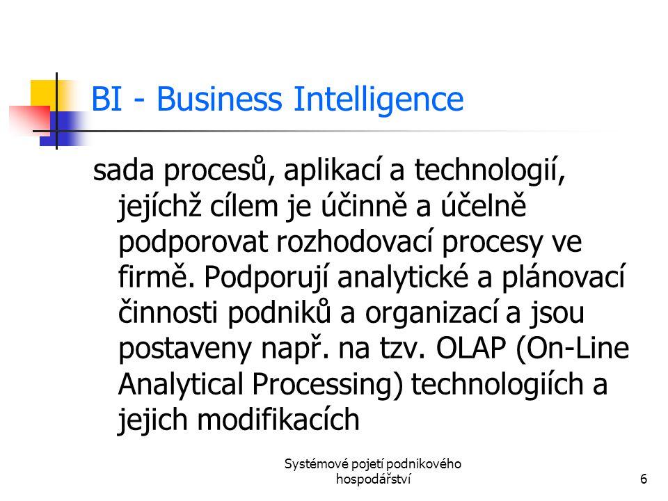 Systémové pojetí podnikového hospodářství6 BI - Business Intelligence sada procesů, aplikací a technologií, jejíchž cílem je účinně a účelně podporova