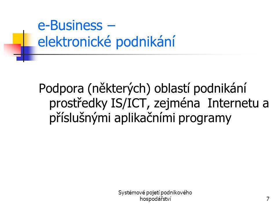 Systémové pojetí podnikového hospodářství7 e-Business – elektronické podnikání Podpora (některých) oblastí podnikání prostředky IS/ICT, zejména Intern