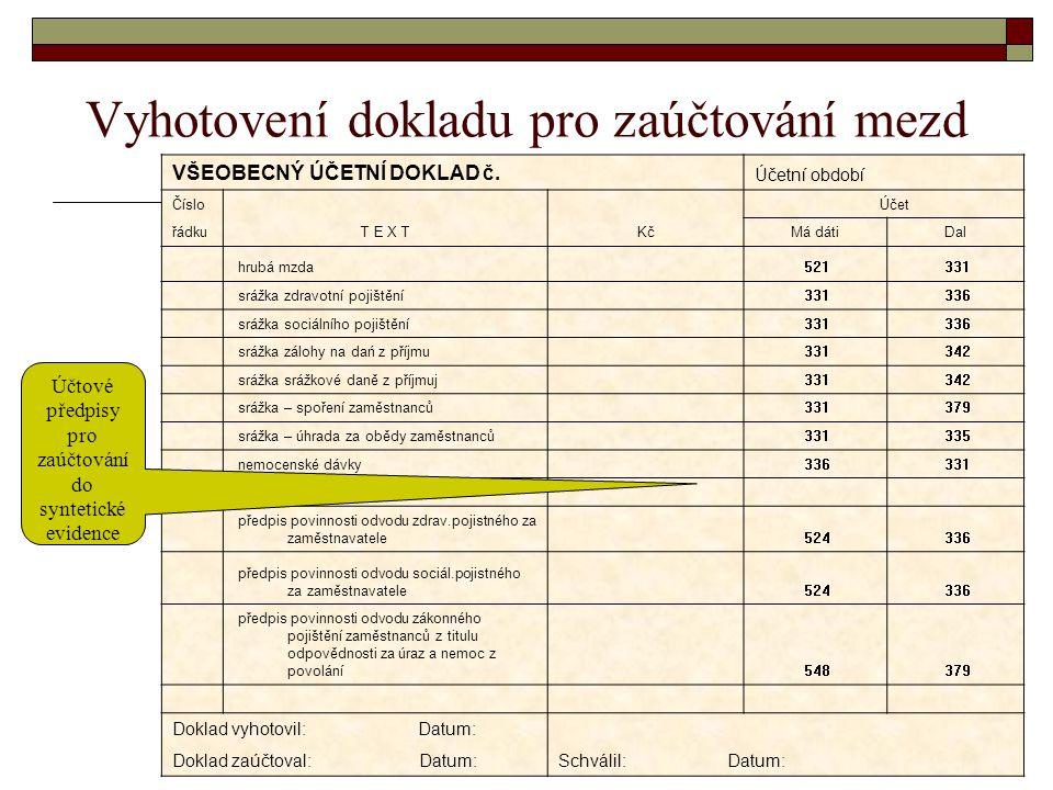 Vyhotovení dokladu pro zaúčtování mezd VŠEOBECNÝ ÚČETNÍ DOKLAD č. Účetní období Číslo Účet řádkuT E X TKčMá dátiDal hrubá mzda 521 331 srážka zdravotn