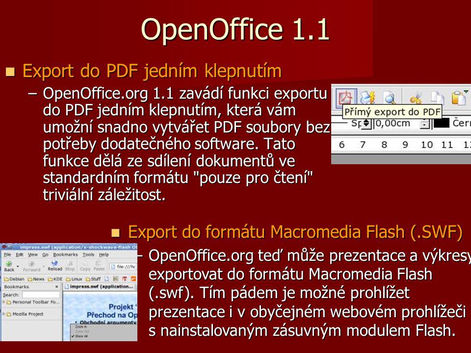 OpenOffice 1.1 Export do PDF jedním klepnutím Export do PDF jedním klepnutím –OpenOffice.org 1.1 zavádí funkci exportu do PDF jedním klepnutím, která vám umožní snadno vytvářet PDF soubory bez potřeby dodatečného software.