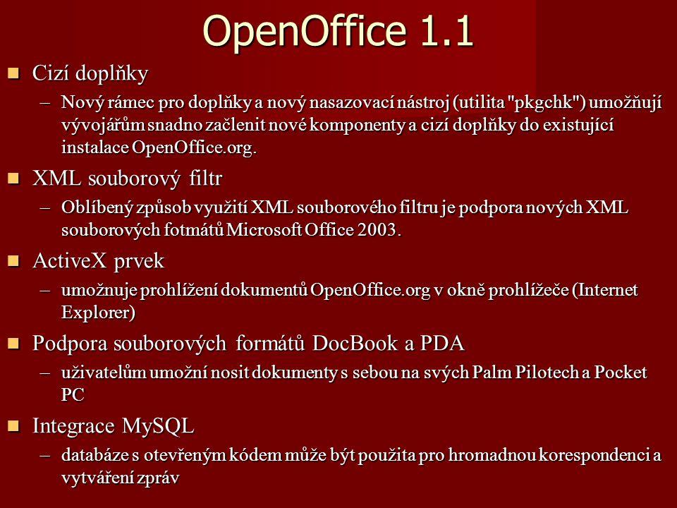 OpenOffice 1.1 Cizí doplňky Cizí doplňky –Nový rámec pro doplňky a nový nasazovací nástroj (utilita pkgchk ) umožňují vývojářům snadno začlenit nové komponenty a cizí doplňky do existující instalace OpenOffice.org.