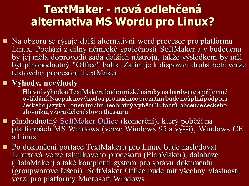 TextMaker - nová odlehčená alternativa MS Wordu pro Linux.