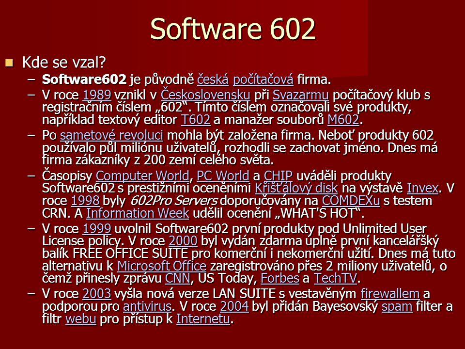 Software 602 Kde se vzal. Kde se vzal. –Software602 je původně česká počítačová firma.