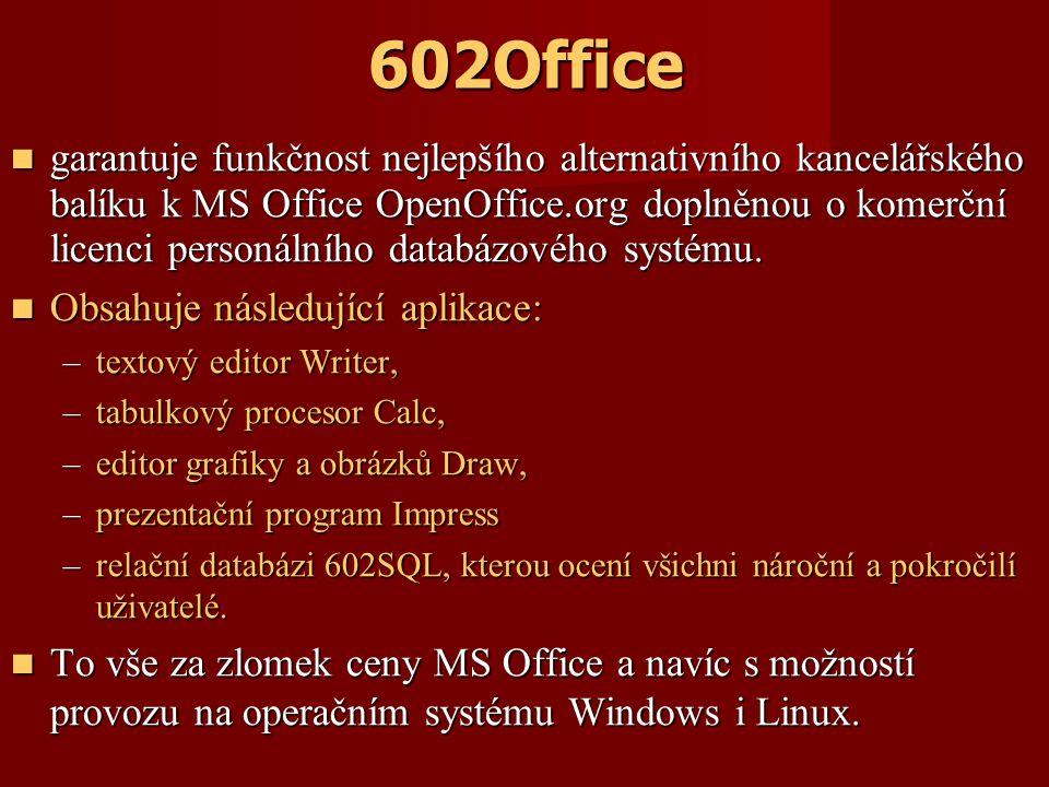 602Office garantuje funkčnost nejlepšího alternativního kancelářského balíku k MS Office OpenOffice.org doplněnou o komerční licenci personálního databázového systému.
