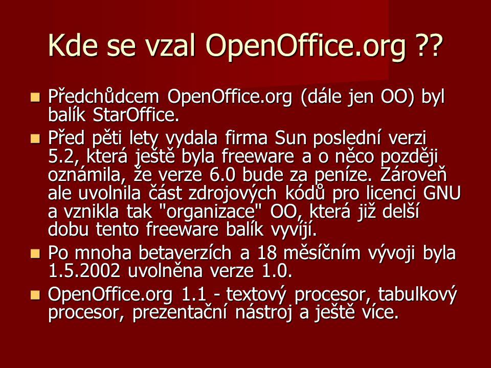 Kde se vzal OpenOffice.org . Předchůdcem OpenOffice.org (dále jen OO) byl balík StarOffice.