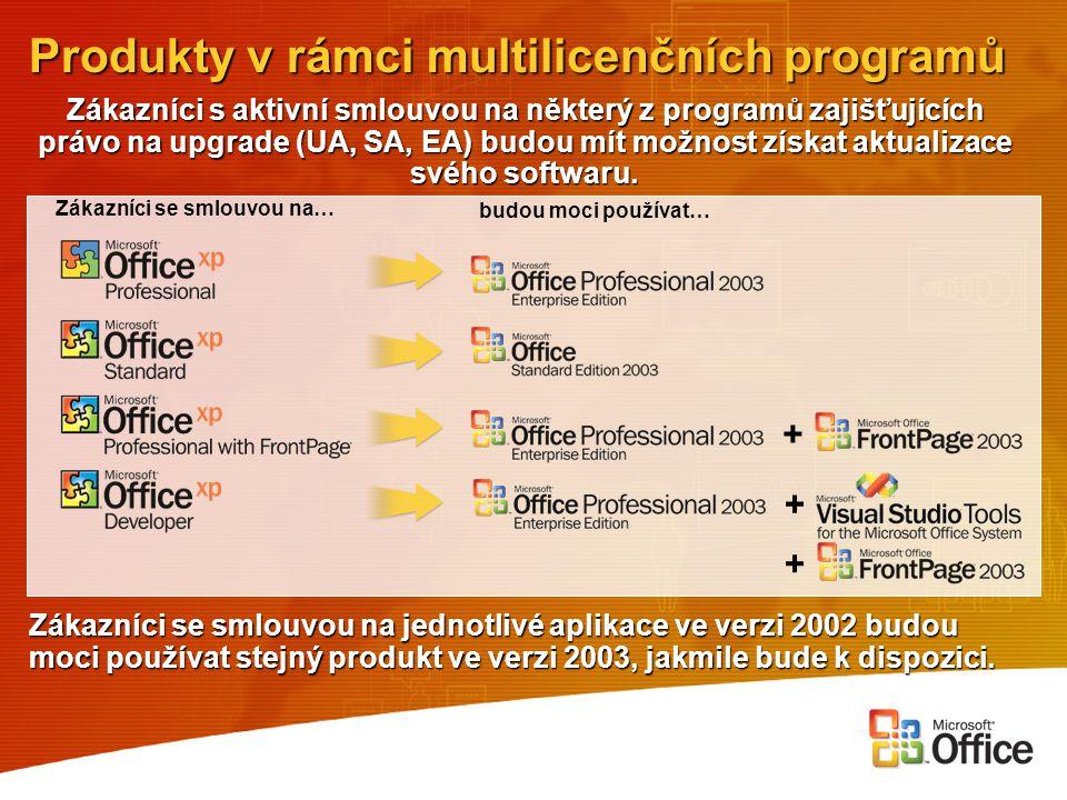 Produkty v rámci multilicenčních programů Zákazníci s aktivní smlouvou na některý z programů zajišťujících právo na upgrade (UA, SA, EA) budou mít mož