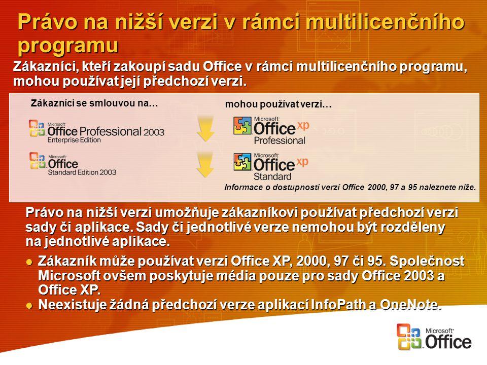 Právo na nižší verzi v rámci multilicenčního programu Zákazníci, kteří zakoupí sadu Office v rámci multilicenčního programu, mohou používat její předc
