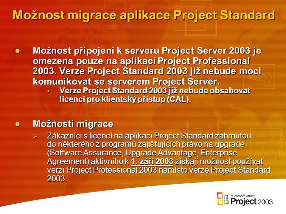 Možnost migrace aplikace Project Standard Možnost připojení k serveru Project Server 2003 je omezena pouze na aplikaci Project Professional 2003. Verz