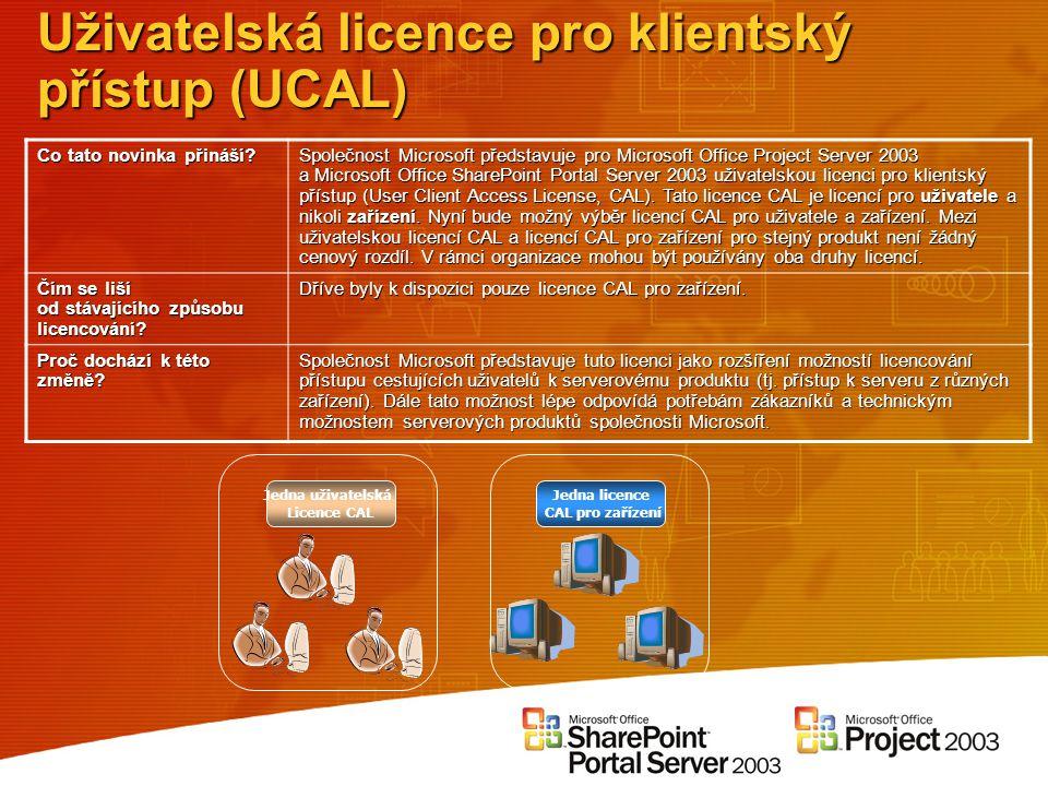 Uživatelská licence pro klientský přístup (UCAL) Co tato novinka přináší? Společnost Microsoft představuje pro Microsoft Office Project Server 2003 a