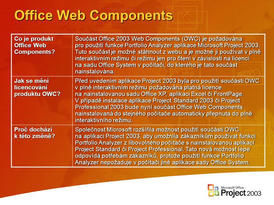 Office Web Components Co je produkt Office Web Components? Součást Office 2003 Web Components (OWC) je požadována pro použití funkce Portfolio Analyze