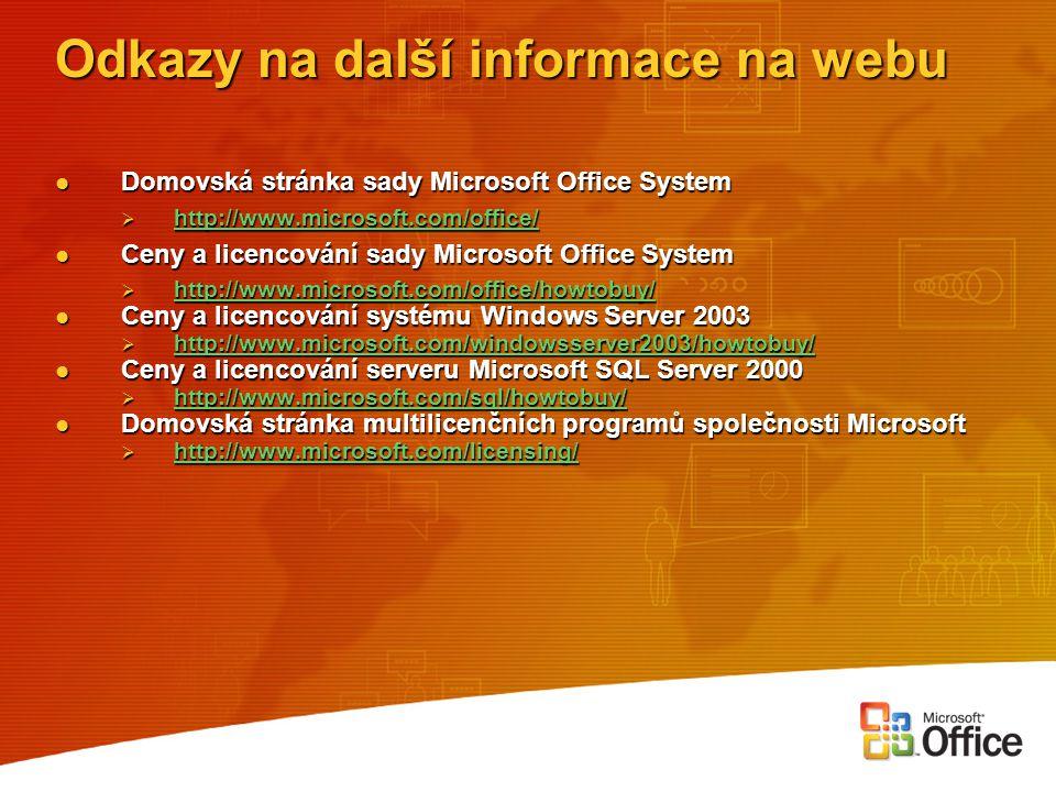 Odkazy na další informace na webu Domovská stránka sady Microsoft Office System Domovská stránka sady Microsoft Office System  http://www.microsoft.c