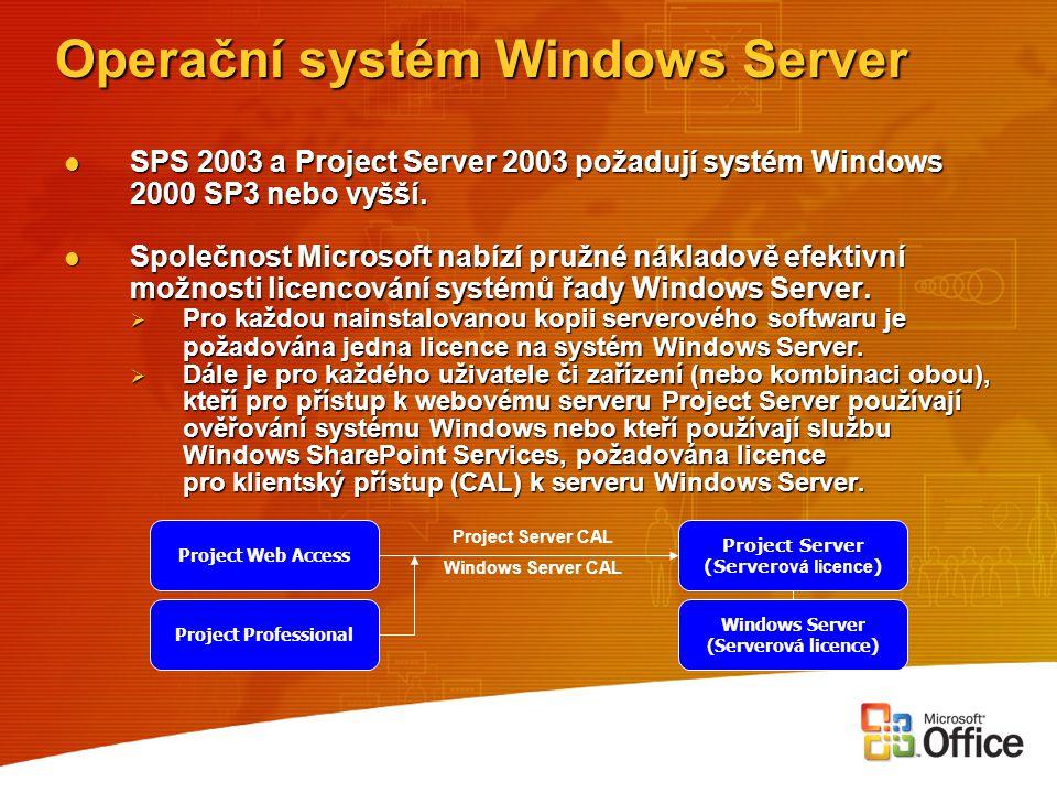 Operační systém Windows Server SPS 2003 a Project Server 2003 požadují systém Windows 2000 SP3 nebo vyšší. SPS 2003 a Project Server 2003 požadují sys