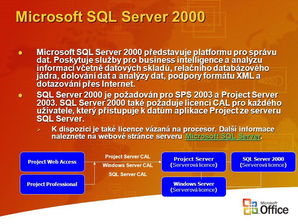Microsoft SQL Server 2000 Microsoft SQL Server 2000 představuje platformu pro správu dat. Poskytuje služby pro business intelligence a analýzu informa