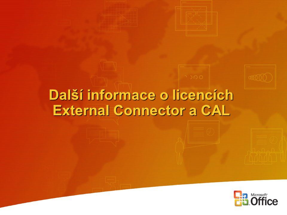 Další informace o licencích External Connector a CAL