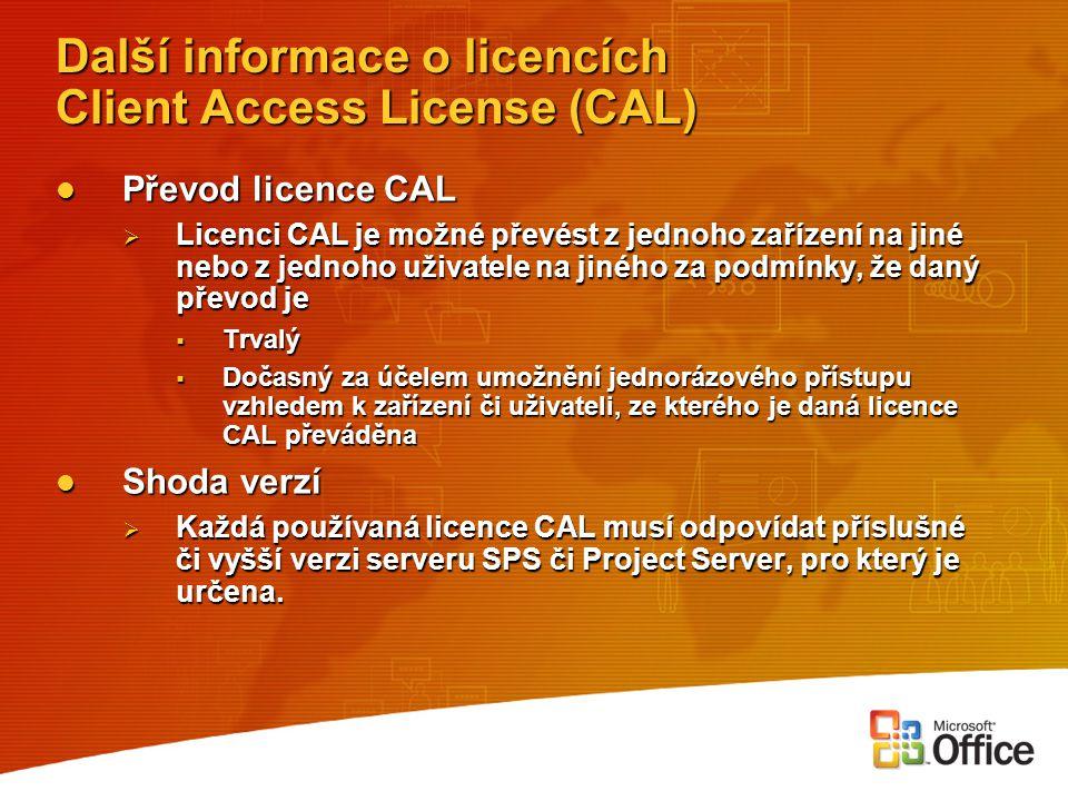 Další informace o licencích Client Access License (CAL) Převod licence CAL Převod licence CAL  Licenci CAL je možné převést z jednoho zařízení na jin