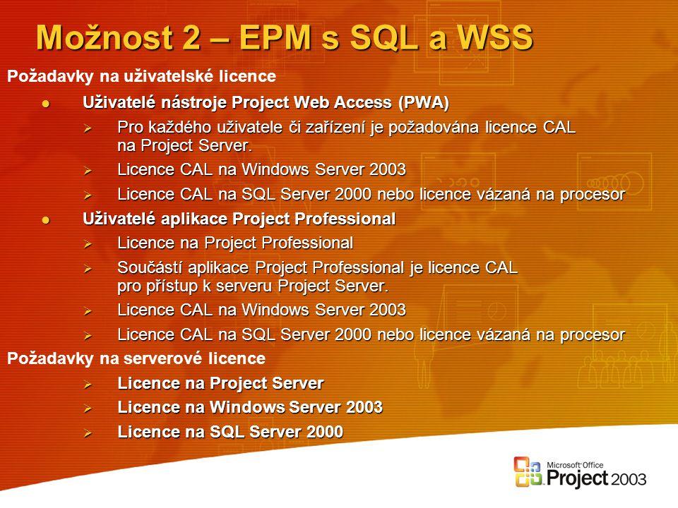 Uživatelé nástroje Project Web Access (PWA) Uživatelé nástroje Project Web Access (PWA)  Pro každého uživatele či zařízení je požadována licence CAL