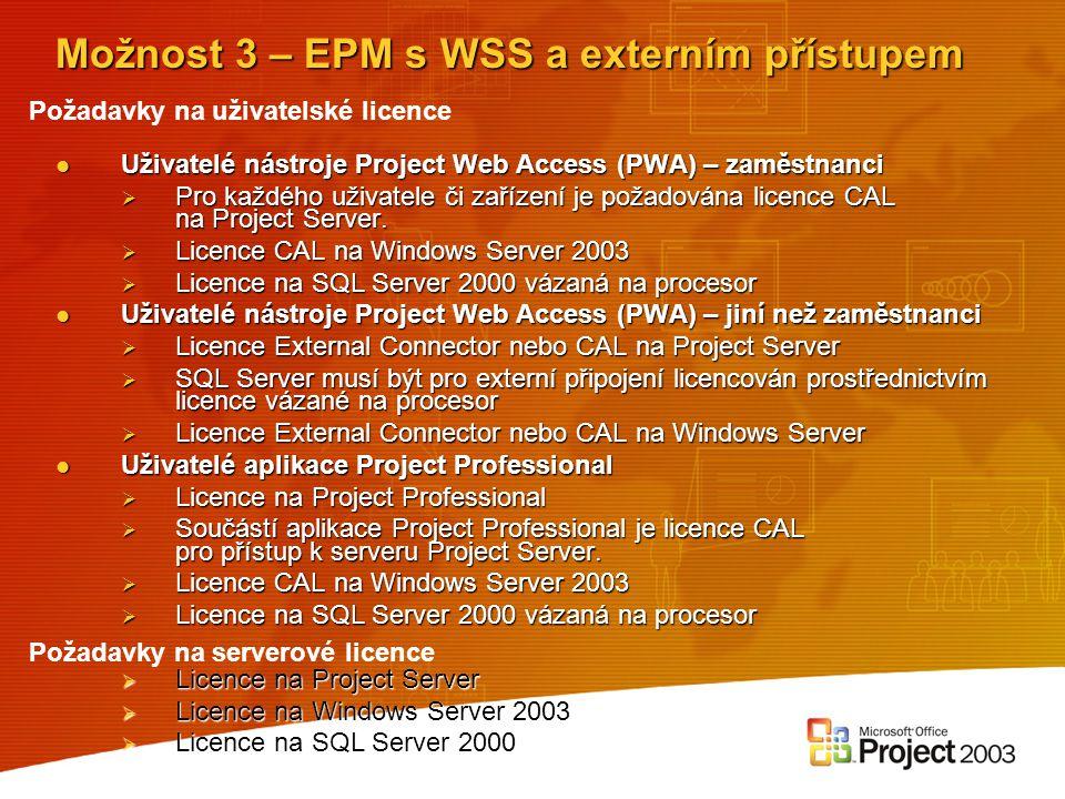 Možnost 3 – EPM s WSS a externím přístupem Uživatelé nástroje Project Web Access (PWA) – zaměstnanci Uživatelé nástroje Project Web Access (PWA) – zam