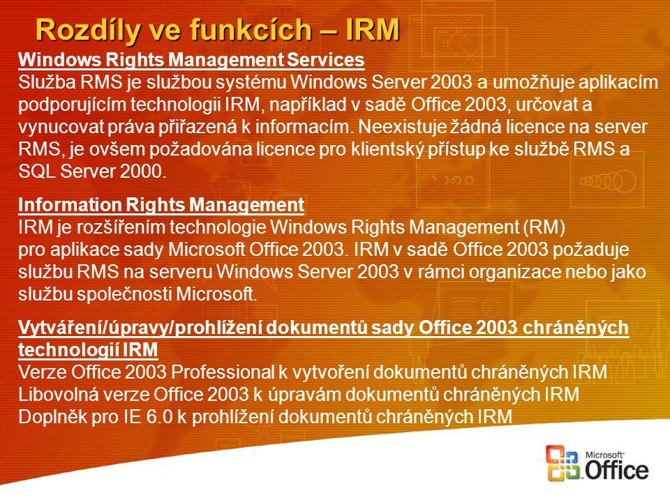"""Rozdíly ve funkcích - XML Office 2000 První implementace  Zpřístupnění """"dat , pro zpracování jinými aplikacemi Office XP První skutečné využití  Inteligentní značky  XML listy tabulkového kalkulátoru  Základní podpora webových služeb Office 2003 Podpora zákaznických schémat  Nový model dokumentů podporující libovolné zákaznické schéma  Vlastní data jsou oddělená od své grafické podoby  Ověřování dat  Celý dokument je přístupný webové službě"""