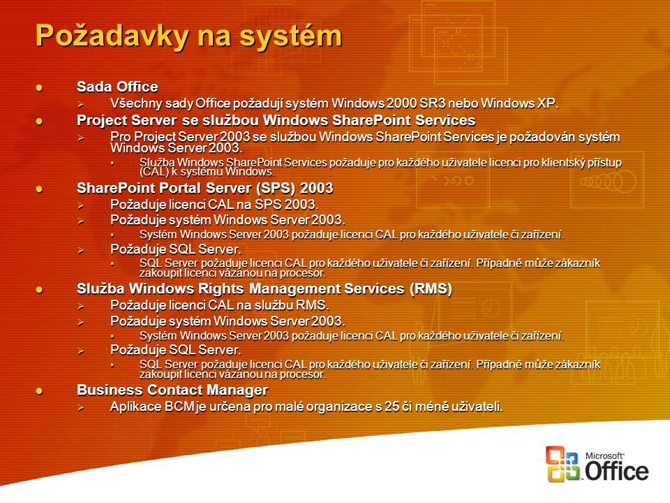 Požadavky na systém Sada Office Sada Office  Všechny sady Office požadují systém Windows 2000 SR3 nebo Windows XP. Project Server se službou Windows