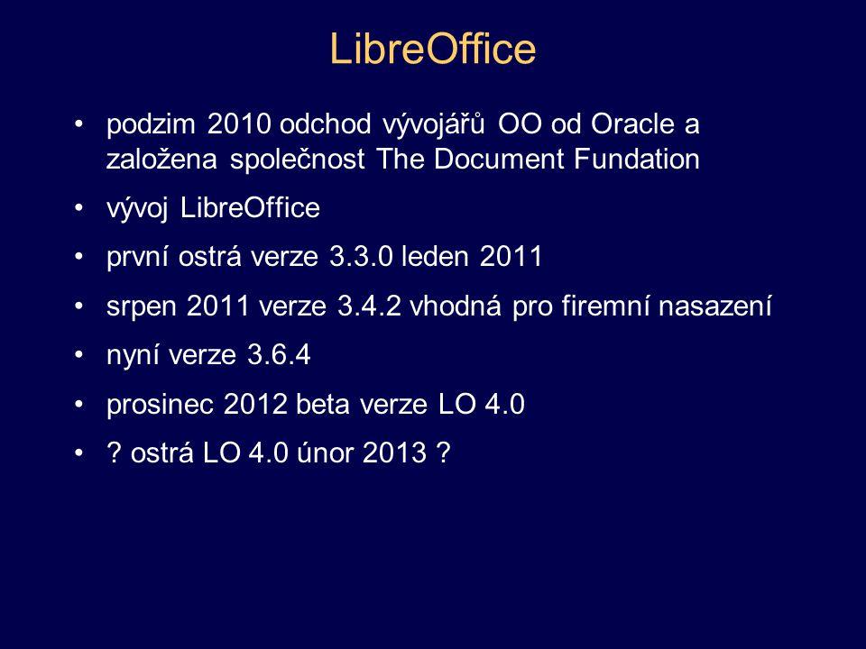 Součásti LO a OO Writer – textový editor Calc – tabulkový procesor Impress – prezentační nástroj Draw – vektorová grafika Base – databázový systém Math – tvorba matematických výrazů součástí není editor bitmapových obrázků, lze použít GIMP (licence GPL)