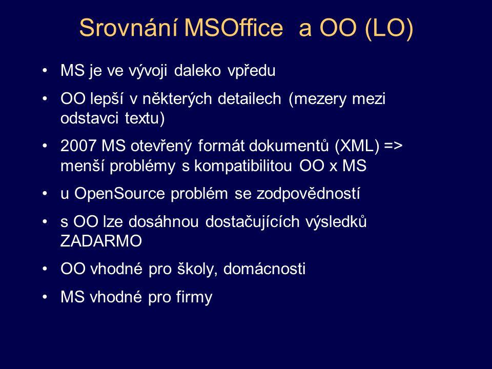 Srovnání MSOffice a OO (LO) MS je ve vývoji daleko vpředu OO lepší v některých detailech (mezery mezi odstavci textu) 2007 MS otevřený formát dokumentů (XML) => menší problémy s kompatibilitou OO x MS u OpenSource problém se zodpovědností s OO lze dosáhnou dostačujících výsledků ZADARMO OO vhodné pro školy, domácnosti MS vhodné pro firmy
