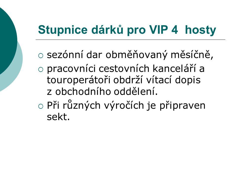 Stupnice dárků pro VIP 4 hosty  sezónní dar obměňovaný měsíčně,  pracovníci cestovních kanceláří a touroperátoři obdrží vítací dopis z obchodního od