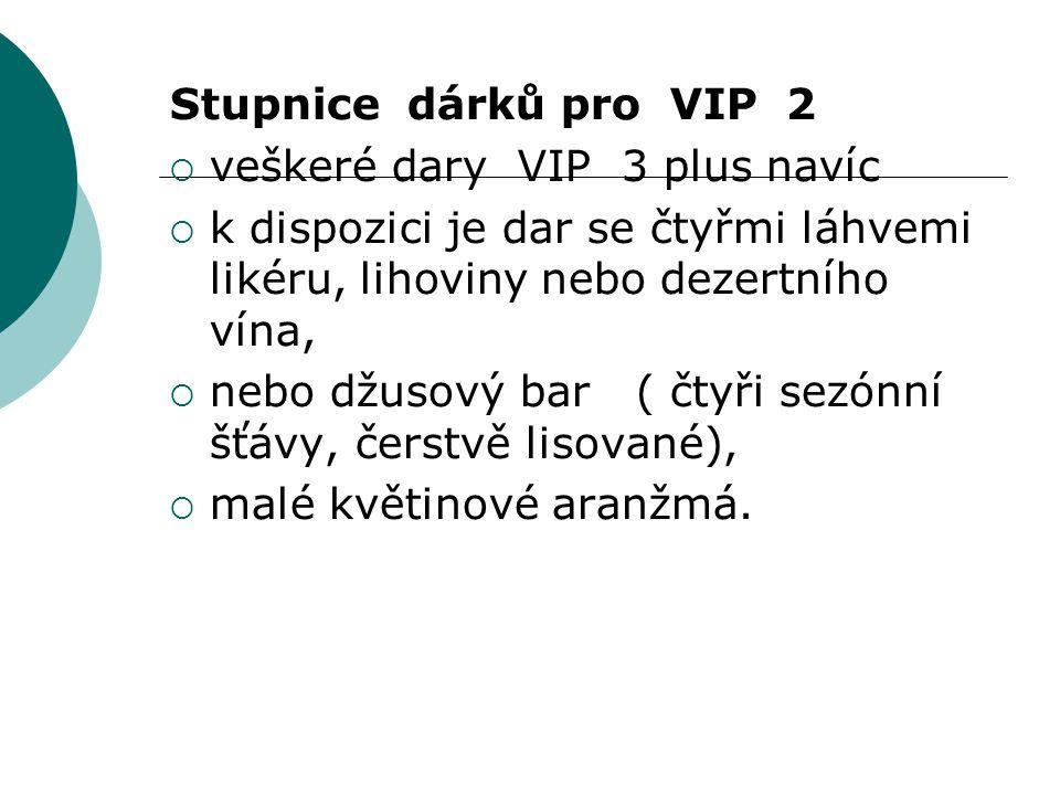 Stupnice dárků pro VIP 2  veškeré dary VIP 3 plus navíc  k dispozici je dar se čtyřmi láhvemi likéru, lihoviny nebo dezertního vína,  nebo džusový