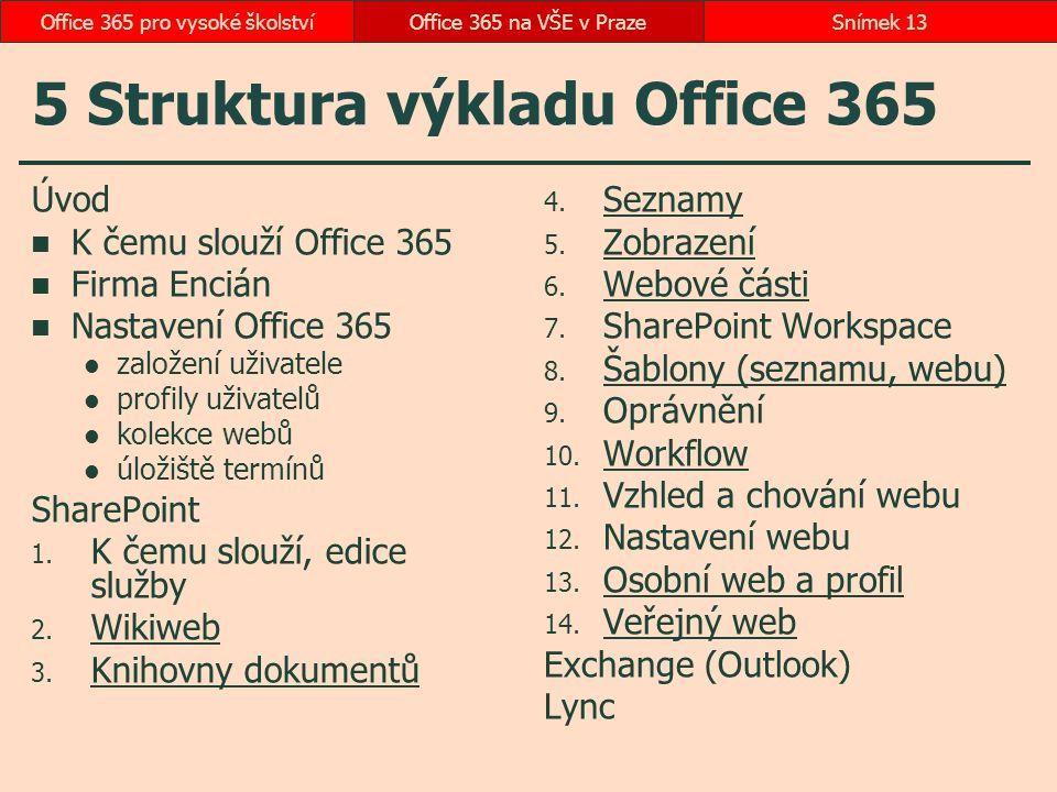 5 Struktura výkladu Office 365 Úvod K čemu slouží Office 365 Firma Encián Nastavení Office 365 založení uživatele profily uživatelů kolekce webů úloži