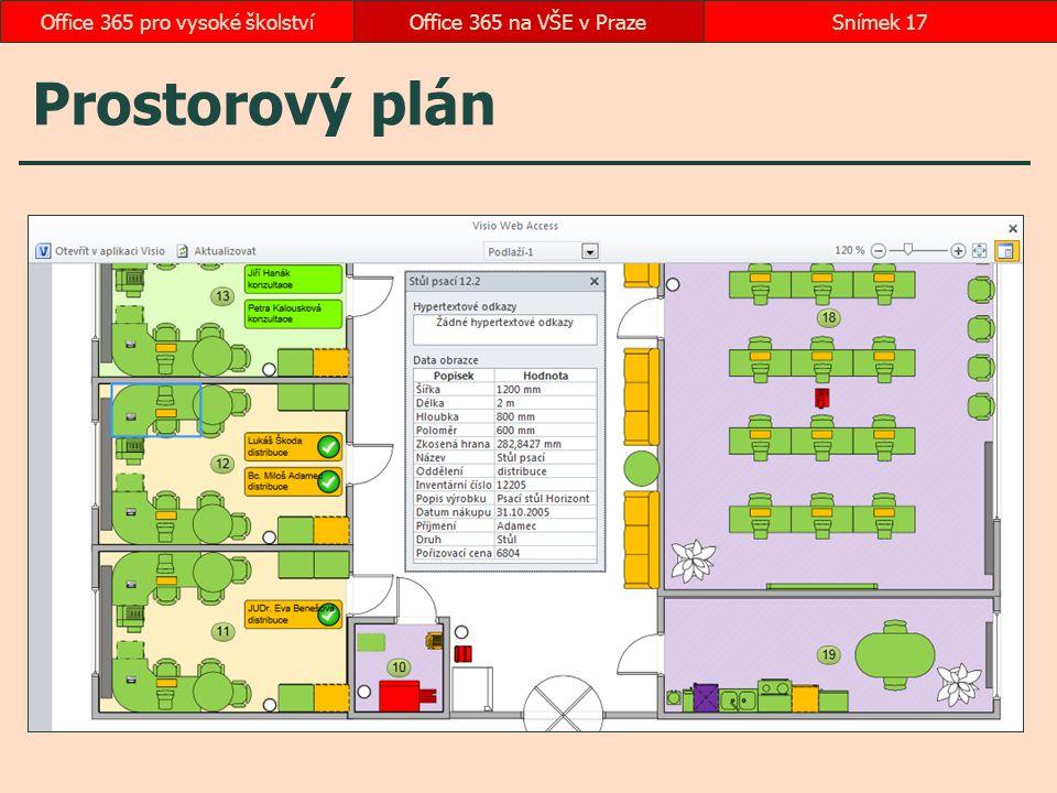 Prostorový plán Office 365 na VŠE v PrazeSnímek 17Office 365 pro vysoké školství